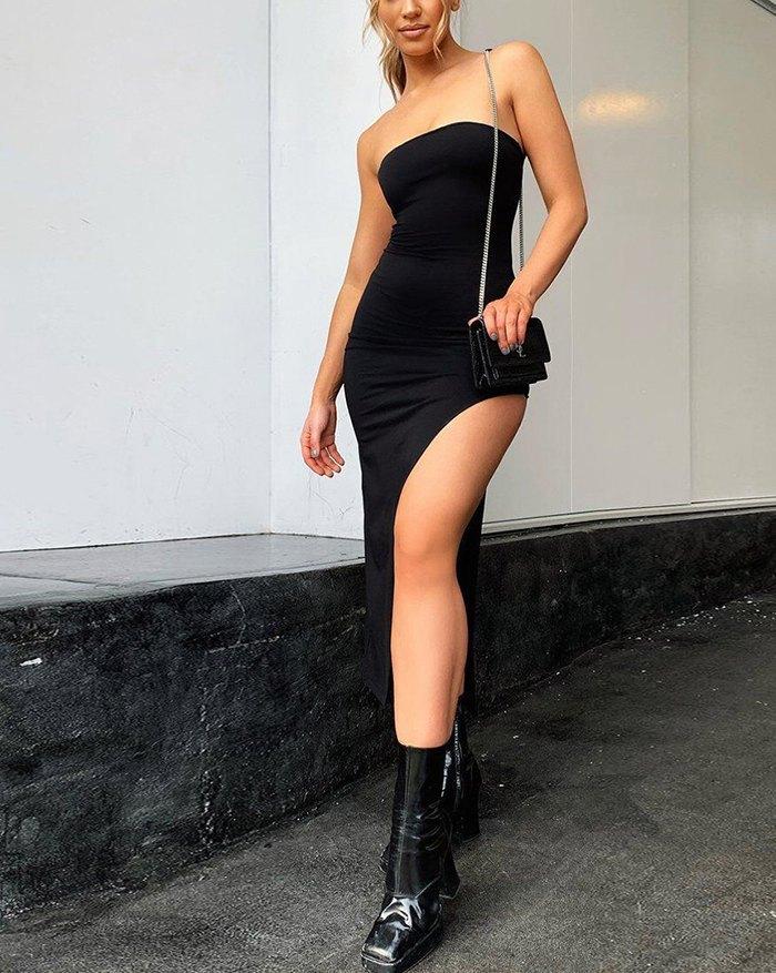 Side Slit Bandeau Midi Dress - Black S