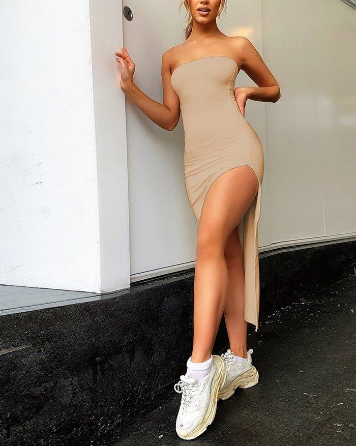Side Slit Bandeau Midi Dress - Apricot M