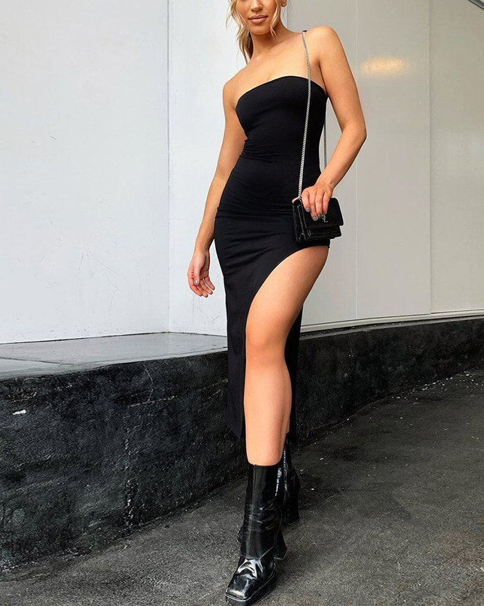 Side Slit Bandeau Midi Dress - Black L