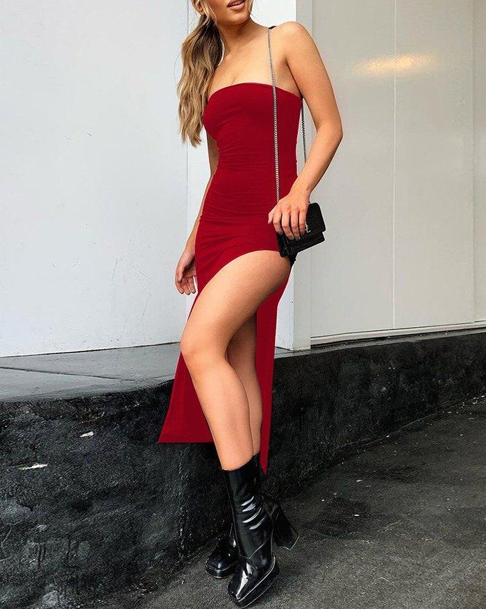 Side Slit Bandeau Midi Dress - Red S