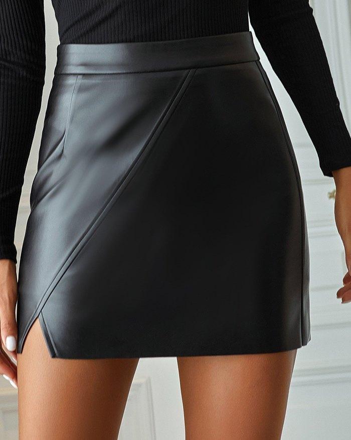 High Waist Irregular PU Leather Mini Skirt - Black XL
