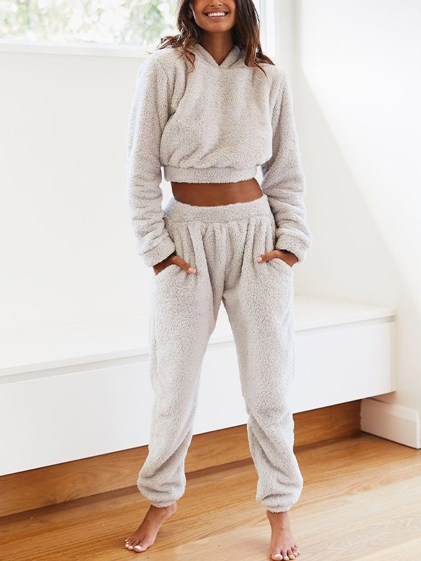 Solid Plush Hooded & Pocket Pants Set - Ivory L