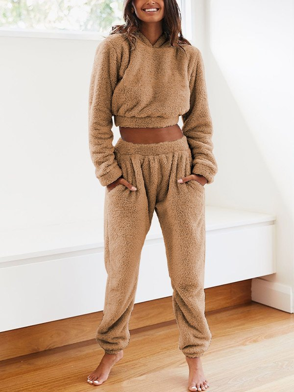 Solid Plush Hooded & Pocket Pants Set - Camel L