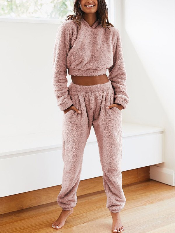 Solid Plush Hooded & Pocket Pants Set - Pink L