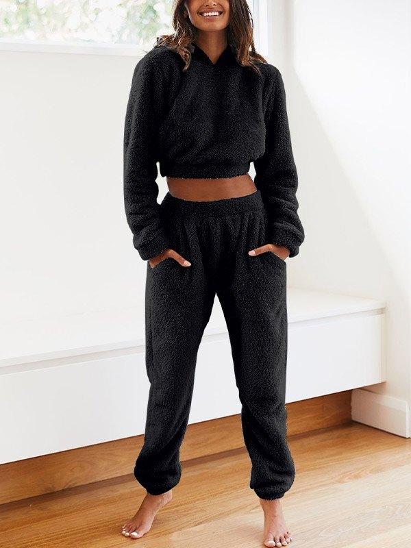 Solid Plush Hooded & Pocket Pants Set - Black L