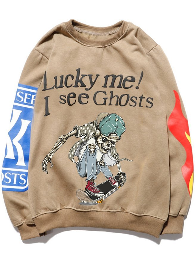 Men's Funny Dabbing Halloween Skeleton Skateboarding Sweatshirt - Khaki L