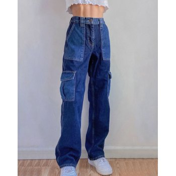 Pocket Stitching Contrast Hip-Hop Jeans