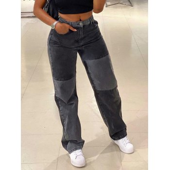 Contrast Patchwork Straight Jeans