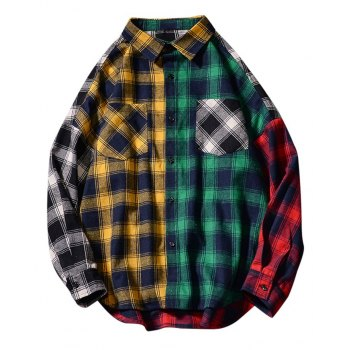 Men's Plaid Colorblock Shirt
