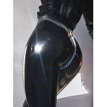 Faux Leather Metal Chain Legging