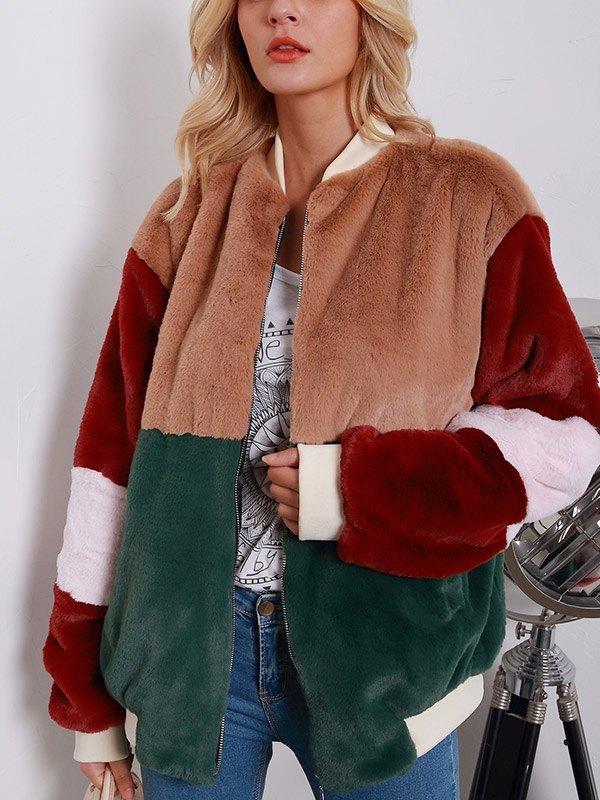 Color Block Faux Fur Jacket - multicolorple Colors M