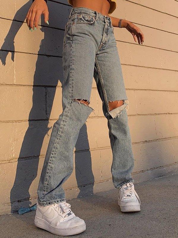 High Waist Distressed Boyfriend Jeans - Blue S