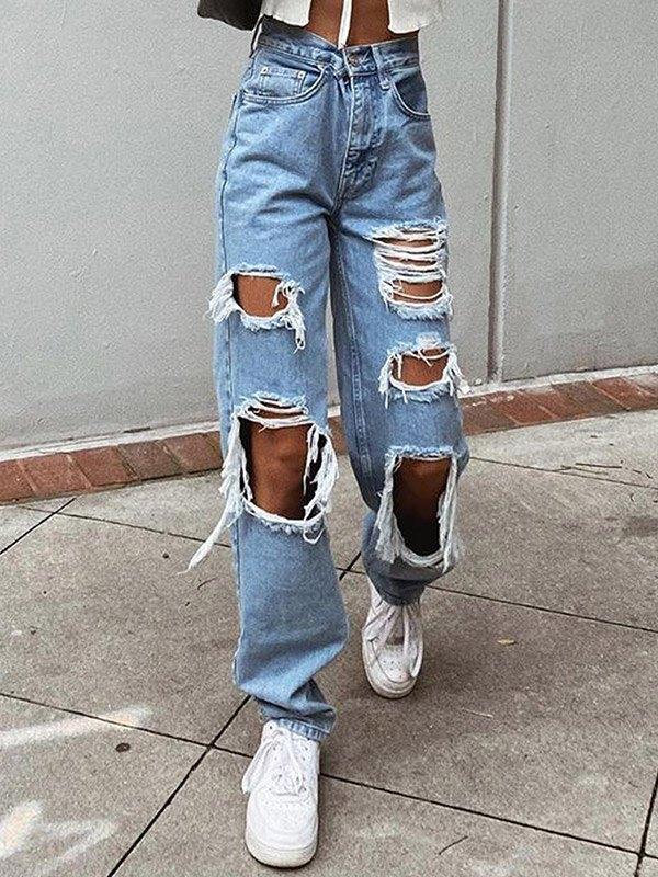 Jeans boyfriend strappati a vita alta - Blu S