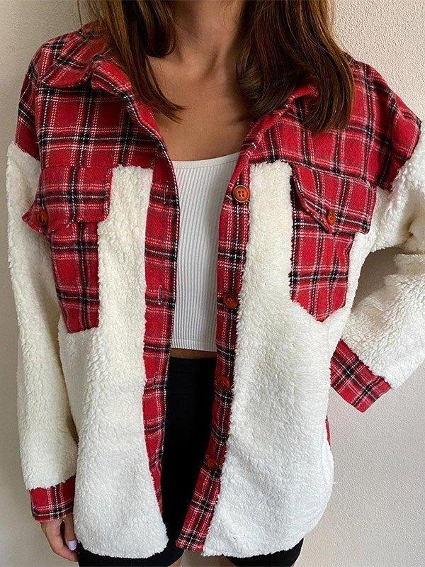 Shacket Plaid Stitching Lambswool Jacket - Red M