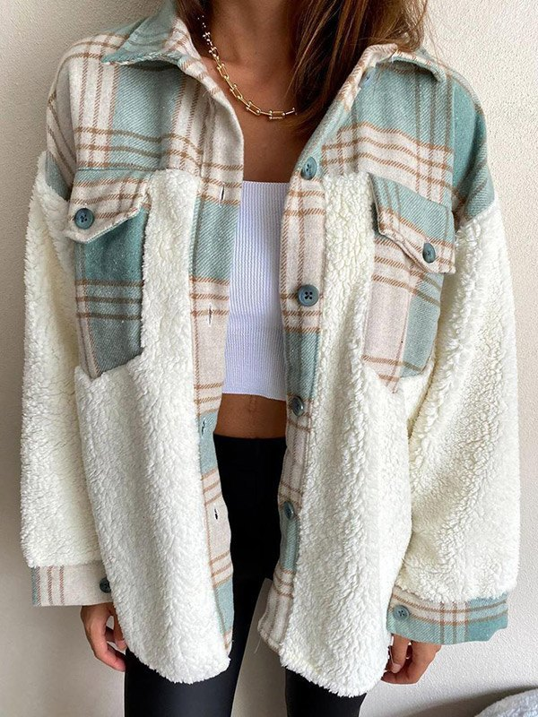 Shacket Plaid Stitching Lambswool Jacket - White L