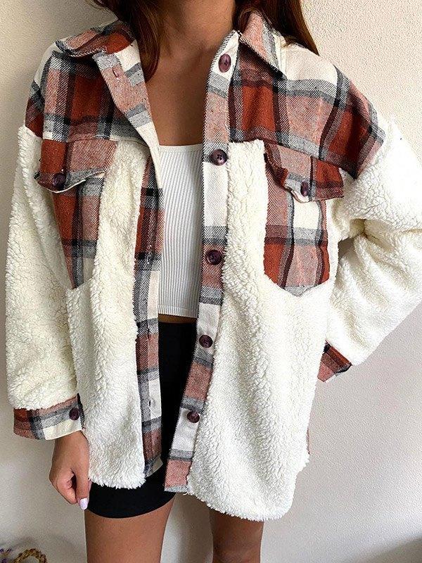 Shacket Plaid Stitching Lambswool Jacket - Mixcolor L