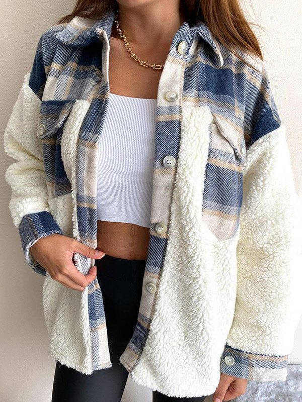 Shacket Pocket Plaid Stitching Lambswool Jacket - White S