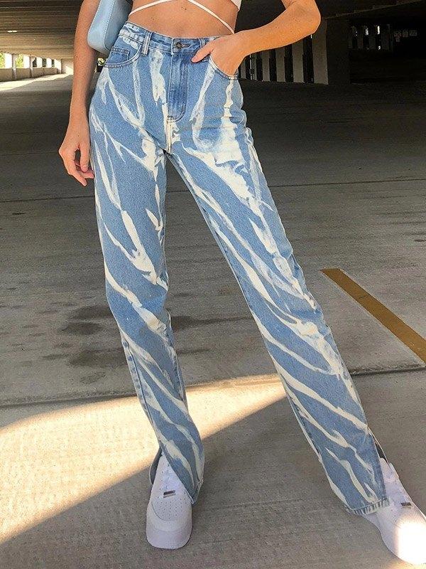 Tie Dye High Waisted Slim Jeans - Blue S