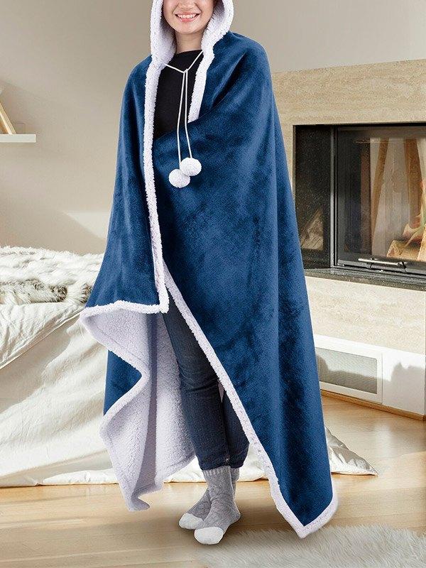 Wearable Fleece Hooded Blanket - Blue ONE SIZE