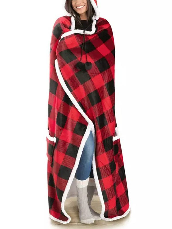 Sherpa-Lined Plaid Hooded Blanket - Red ONE SIZE