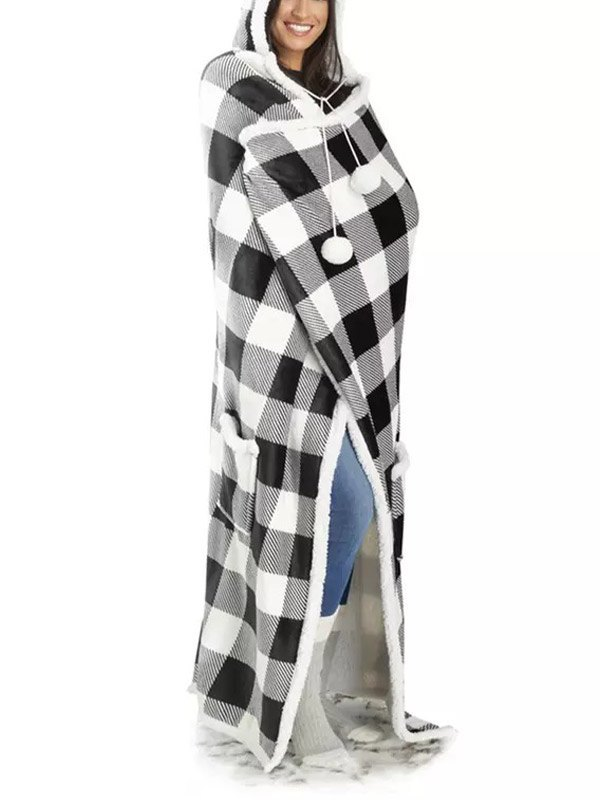 Sherpa-Lined Plaid Hooded Blanket - White ONE SIZE