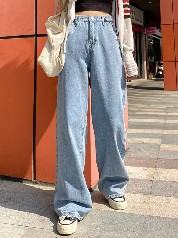 High Waist Baggy Boyfriend Jeans - Blue S