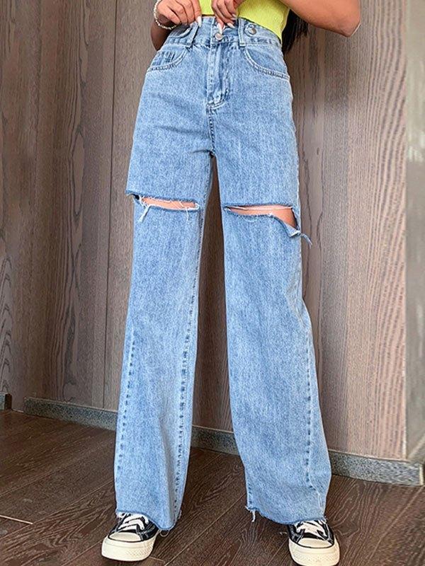Ripped High Waist Boyfriend Jeans - Blue 2XL