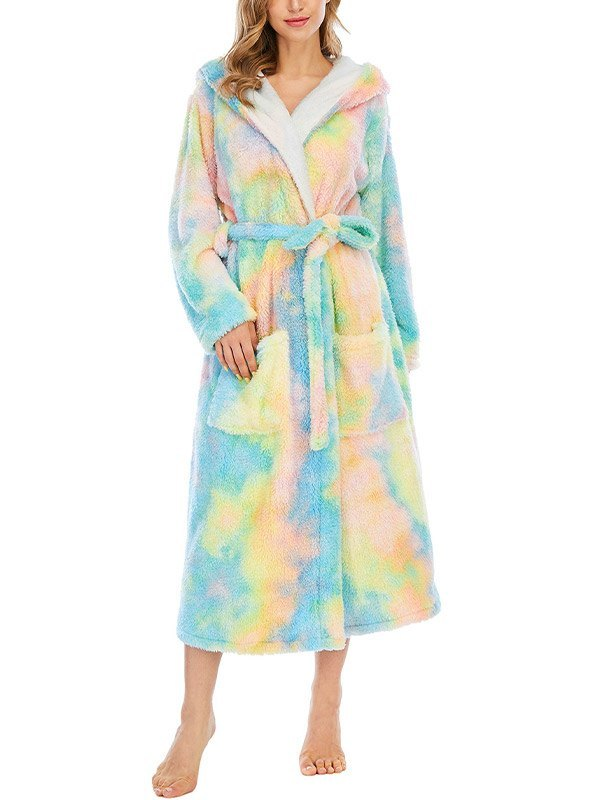 Tie Dye Fleece Lounge Robe - Yellow 2XL