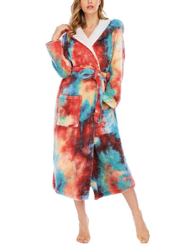 Tie Dye Fleece Lounge Robe - multicolorple Colors 2XL