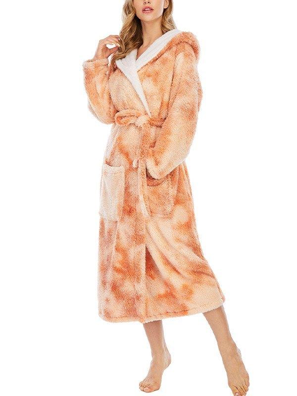 Tie Dye Fleece Lounge Robe - Orange 2XL