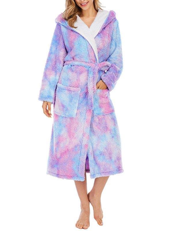 Tie Dye Fleece Lounge Robe - Purple 2XL