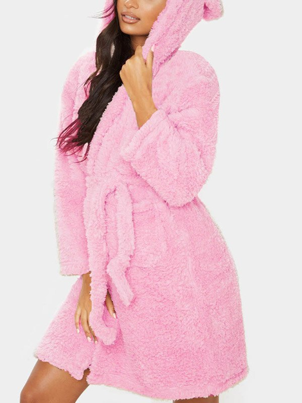 Hooded Ear Flannel Lounge Robe - Pink 2XL
