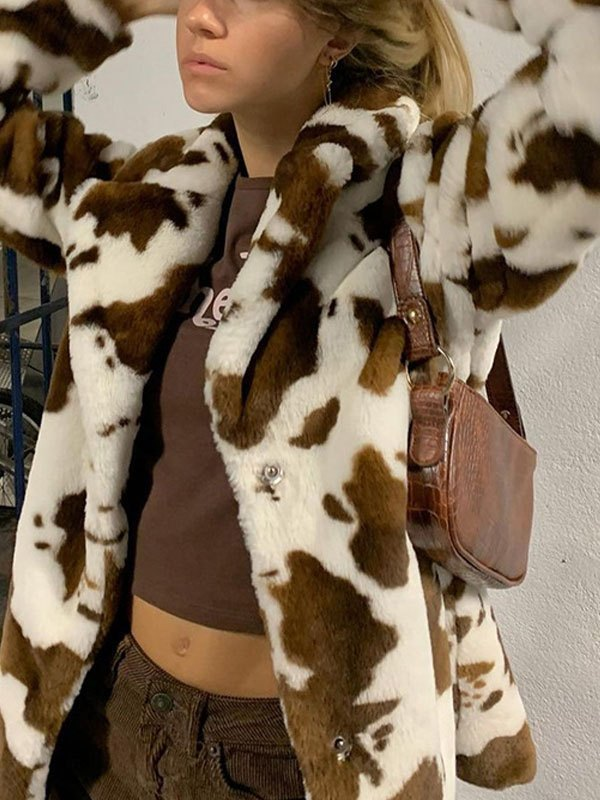 Cow Print Faux Fur Jacket - Brown S