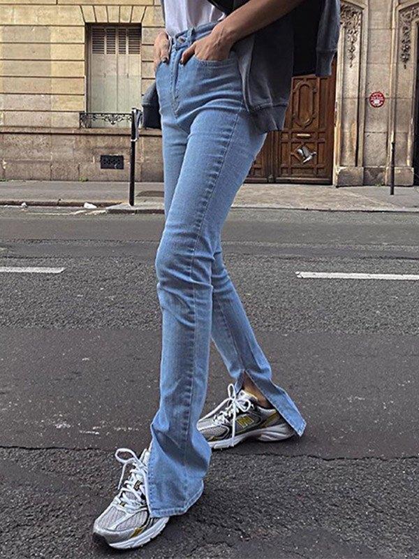 High Waist Bootcut Slim Jeans - Blue M