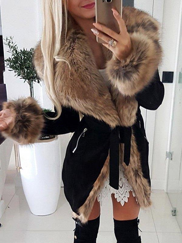 Mid-length Faux Fur Trim Coat - Black S