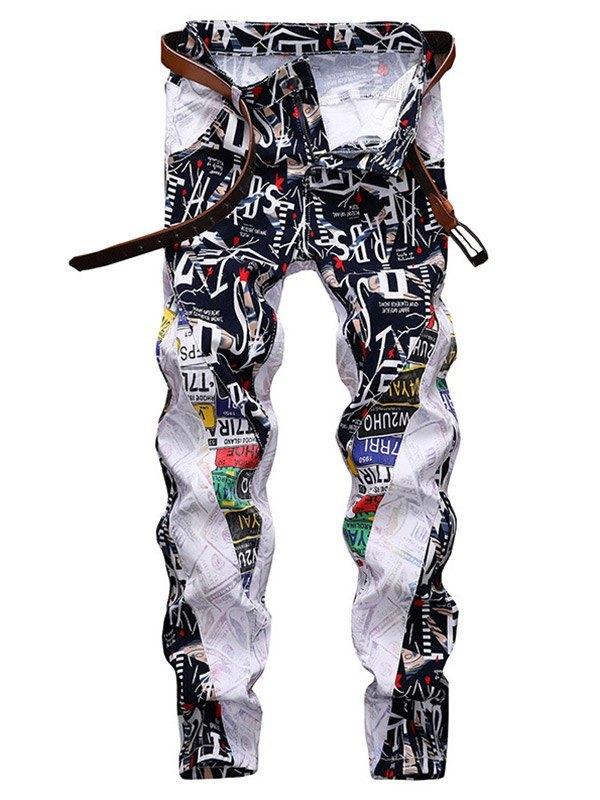 Men's Printed Slim Straight Pants - White S