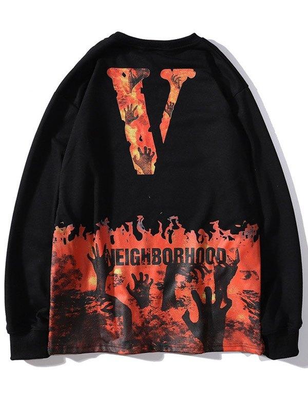 Men's Skull Flame Print Sweatshirt - Black L