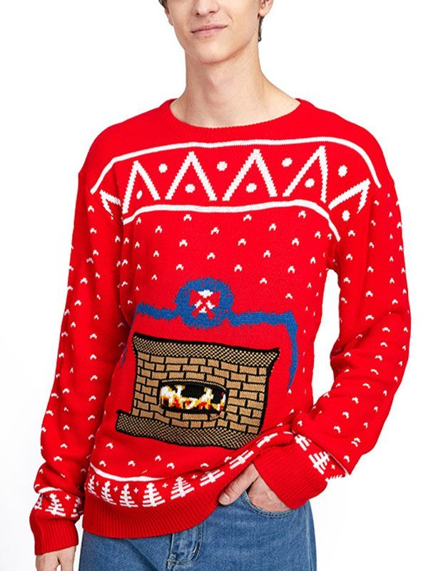 Men's Christmas Jacquard Knit Sweater - Red 2XL