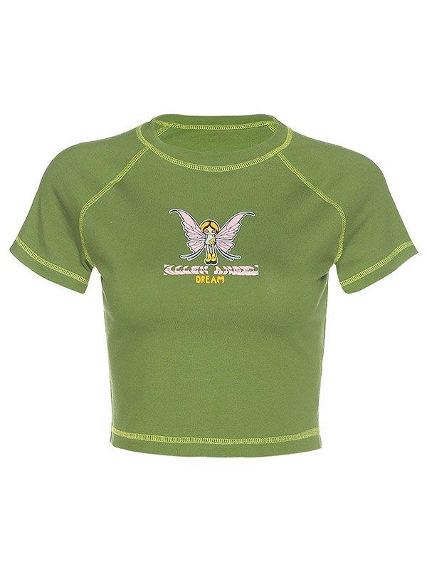 Printed Short Sleeve Crop Top - Green S