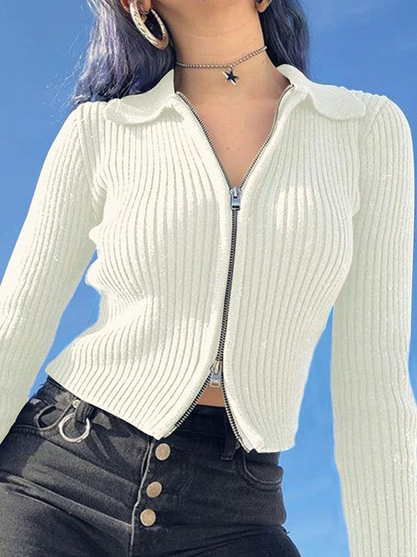 Ribbed Zipper Cardigan -