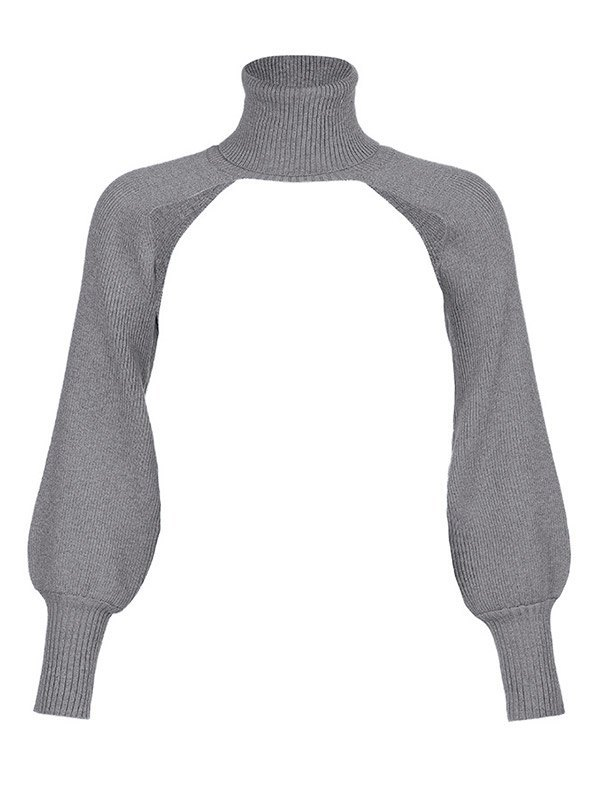 Turtleneck Solid Arm Warmer Cropped Sweater - Grey ONE SIZE