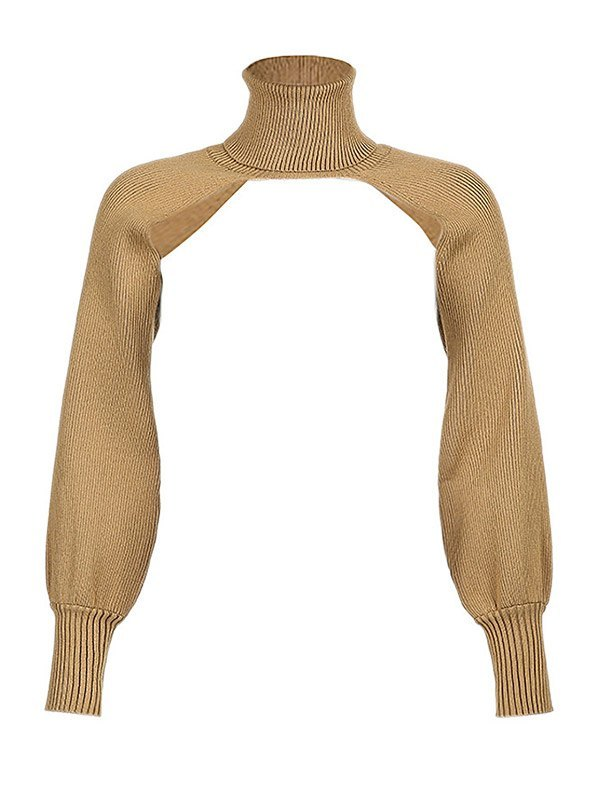 Turtleneck Solid Arm Warmer Cropped Sweater - Camel ONE SIZE
