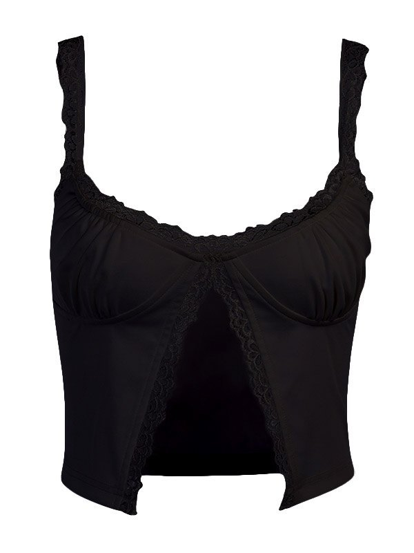 Embroidery Lace Trim Cami Top - Black S