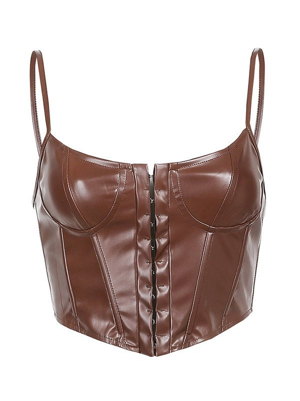 Pu Leather Corset Bustier - Coconut Brown S