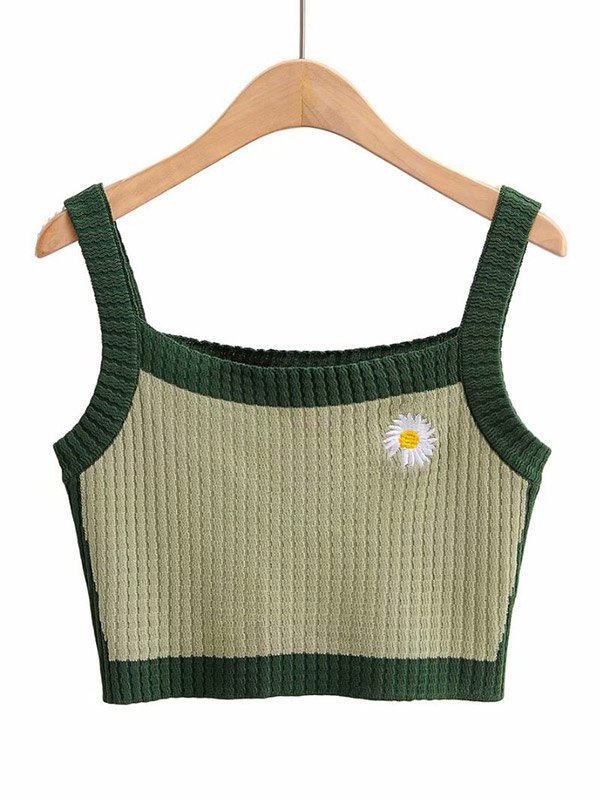 Daisy Embroidery Crop Cami Top - Green S