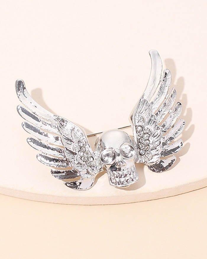 Halloween Punk Skull Angel Brooch - Silver ONE SIZE
