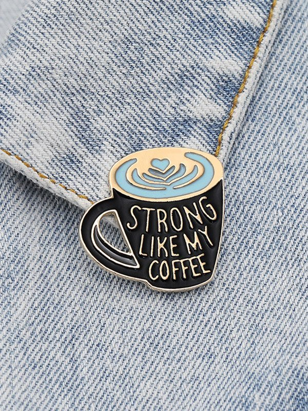 Creative Geometric Coffee Cup Lettering Brooch -  ONE SIZE