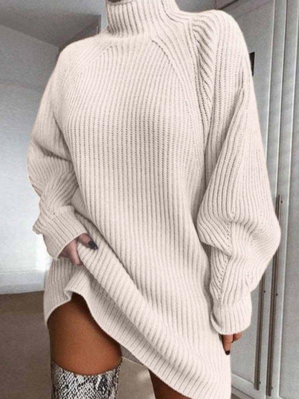 Solid Rib-Knit Sweater Dress - Beige M