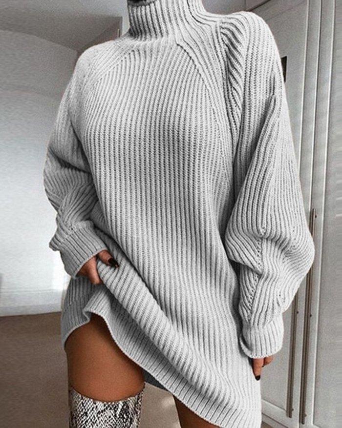 Solid Rib-Knit Sweater Dress - Gray S