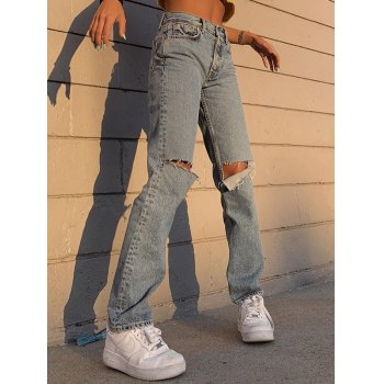 High Waist Distressed Boyfriend Jeans
